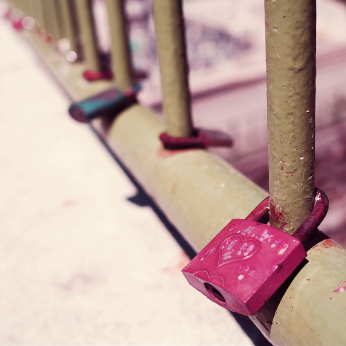 Love padlocks on bridge